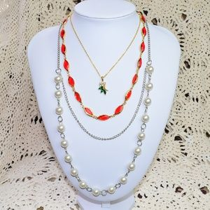 Lot of 3 Statement Necklaces Beaded Chain Pendant